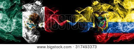 Mexico Vs Ecuador, Ecuadorian Smoky Mystic Flags Placed Side By Side. Thick Colored Silky Abstract S