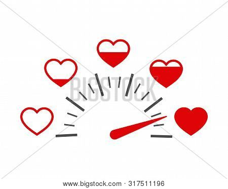Love Heart Indicator.full Heart Of Love With Speedometer Icon. Love Meter Of Valentine's Day In Flat