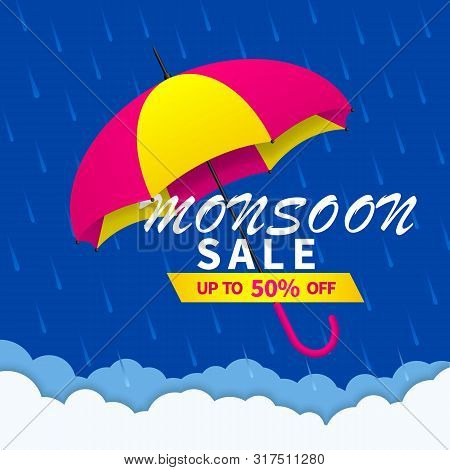 Monsoon Sale Offer Background With Rain And Umbrella. Monsoon Season Sale Concept For Poster, Flyer,