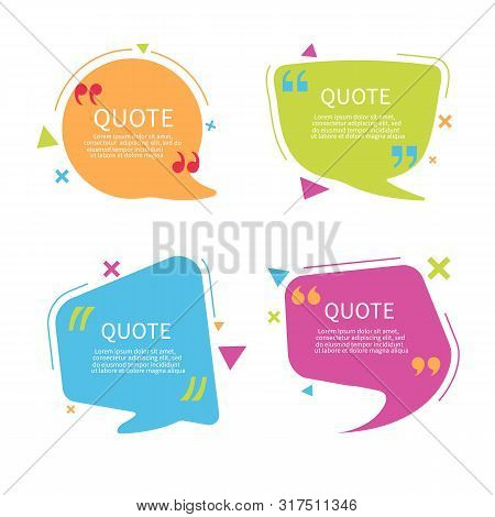 Quote Bubble Box Template With Text. Speech Bubble With Quote In Flat Style.text Box With Frame. Geo