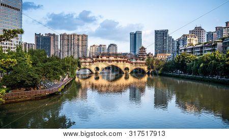 View Of Anshun Bridge On Daytime And City And River Panorama In Chengdu Sichuan China