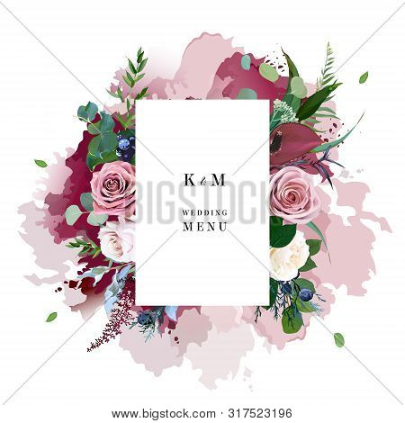 Dusty Pink And Creamy Roses, Burgundy Anthurium Flowers, Juniper, Eucalyptus, Greenery, Astilbe Desi