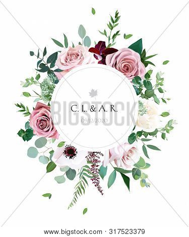 Round Botanical Vector Design Frame. Dusty Pink, Creamy White Antique Rose, Pale Flowers, Anemone, E