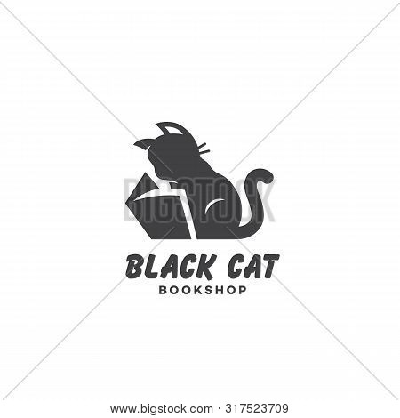 Black Cat Bookshop Logo Design Template With Reading Cat. Vector Illustration.