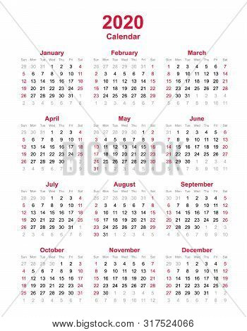 2020 Yearly Calendar - 12 Months Yearly Calendar Set In 2020 - Calendar Template - Planner Timetable
