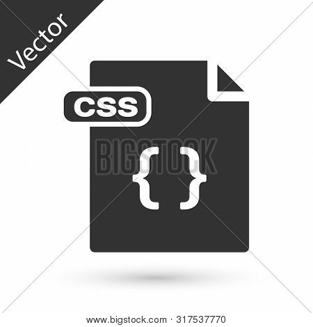 Grey Css File Document. Download Css Button Icon Isolated On White Background. Css File Symbol. Vect