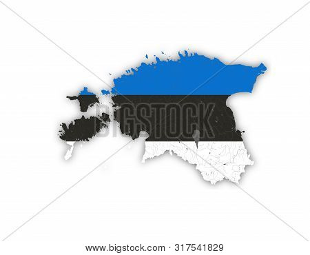 Map Of Estonia With Rivers And Lakes In Colors Of The Estonian National Flag. Please Look At My Othe
