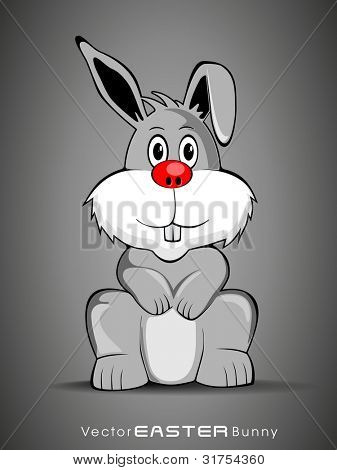 Vector illustration of a label or sticker of Easter bunny, isolated on grey background. Also can be use as icon, element, tag, button or banner. poster