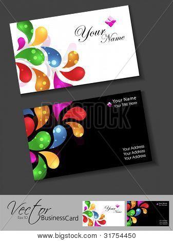 Professional business card set, template or visiting card set. Artistic, abstract colorful floral design, front or back for presentation, EPS 10 Vector illustration.