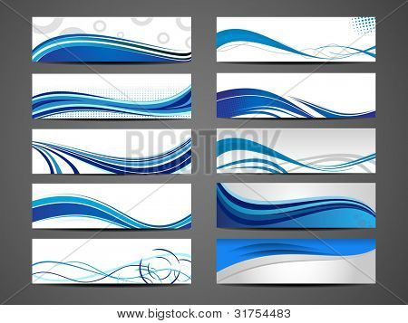 Vector illustration of banners or website headers with abstract wave forms in blue color. EPS 10. poster