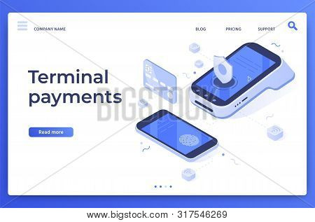 Isometric Pos Terminal Payments. Money Transfers, Smartphone Payment Services And Digital Pay. Credi