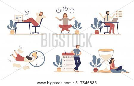 Working Time Planning. Work Schedule, Organize Works Productivity And Tasks Time Management. Office