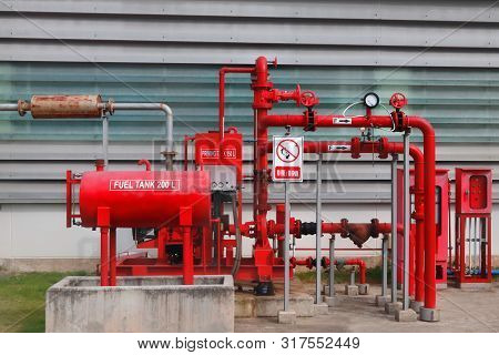 Fire Water Fighting System Installed Outside Of Industrial Area.