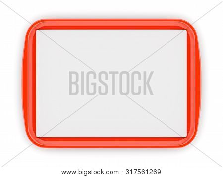 Red Glossy Plastic Fast Food Tray With Blank White Advertising Paper Liner On Isolated On White Back