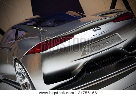 GENEVA SWITZERLAND - MARCH 12: The Infiniti Stand displaying a rear quarter view of  the new Emerge-E Concept, at the Geneva Motorshow on March 12th, 2012 in Geneva, Switzerland.