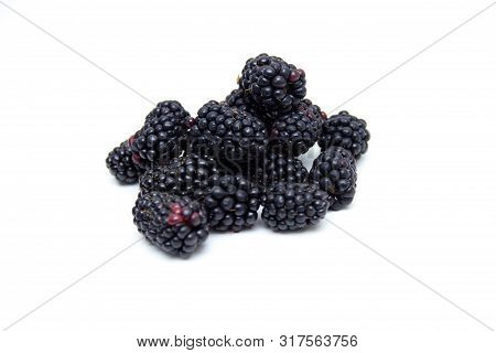 Natural Boysenberry  Isolated On A White Background.