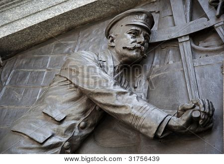 Detail of the Titanic Engineers Memorial in Southampton, UK. The Titanic sank on it's maiden voyage from Southampton to New York, April 15th 1912.