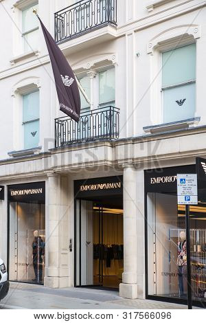 London, Uk - August 13, 2019: Logo Of The Emporio Armany Brand On The Old Bond Street,  Major Shoppi