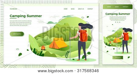 Vector Cross Platform Illustration Set - Tourist Girl Looking On Camping Place With Bonfire. Forests