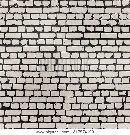 Realistic Grunge Bricks In Worn Out Brick Wall Seamless Pattern