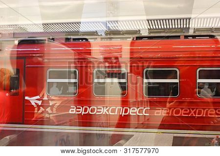 Moscow, Russia - June 04, 2013: Aeroexpress Connects Vnukovo Airport To Kievsky Station. View Throug
