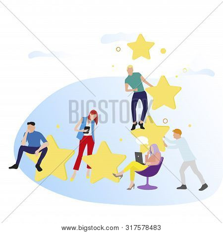 People Give Feedback And Rate Stars. Vector Customer Review. Illustration Star Ranking And Result Vo