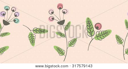 Beautiful Border With Flowers, Berries And Leaves With Offset Color. Seamless Vector Pattern On Pink