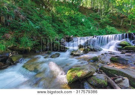 Forest Stream With Cascade And Mossy Rocks. Beautiful Summer Scenery On Sunny Morning. Long Exposure