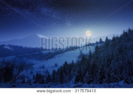 Wonderful Winter Night Scenery In Mountains.  Snow Covered Forested Hills. Full Moon On A Starry Sky