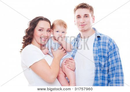 studio shot of young family. isolated on white