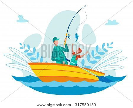 Father Fishing With Son On River Or Lake From Oar Boat Flat Vector Concept. Parent Pulling Fish From