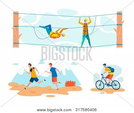 Cross Country Sports And Outdoor Activities Flat Vector Concepts Set Isolated On White Background. R
