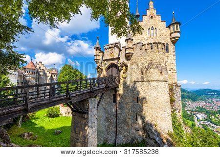 Lichtenstein Castle With Bridge, Baden-wurttemberg, Germany. This Fairy Tale Castle Is A Landmark Of