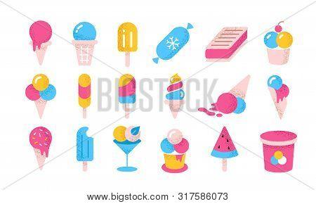 Ice Cream Flat Icons. Cartoon Frozen Yoghurt And Creams In Cones Cups And Buckets. Vector Illustrati