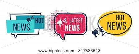 News Badges. Daily Hot Latest And Breaking News Banners, Newspapers And Magazines Announcement Label