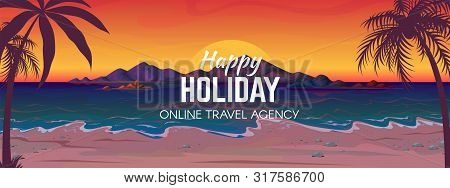 Sea Beach Sunset. Ocean Coast Landscape, Travel Vacation Banner With Palm Trees Tropical Sea Beach A
