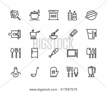 Kitchen Line Icons. Food Cooking Processes And Kitchen Utensils, Outline Pan Pot And Plate. Vector I