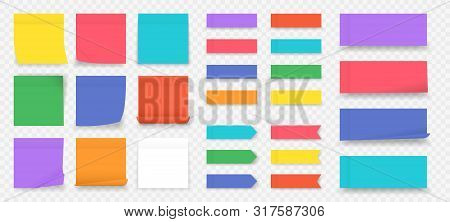 Sticky Notes. Paper Colored Square Reminders Isolated On Transparent Background, Empty Notebook Page