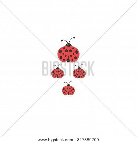 Ladybug Family Walking. Ladybug With Children. Flat Summer Icon In Black And Red.