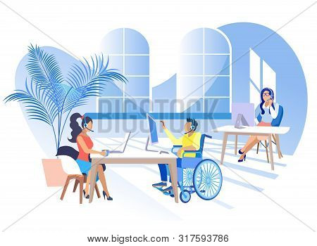 Work In Call Center For People With Disabilities. Man Wheelchair Works In Center Call Office With He