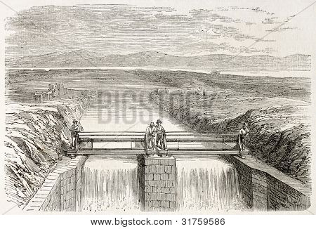 Provisional channel for Fucine lake drainage, Italy. Created by Gaildrau,  published on L'Illustration, Journal Universel, Paris, 1863