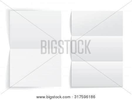 Mockup Of Empty Paper Letter. White Paper Blank A4 Format. Notepaper Page In Realistic Style. Two Pa