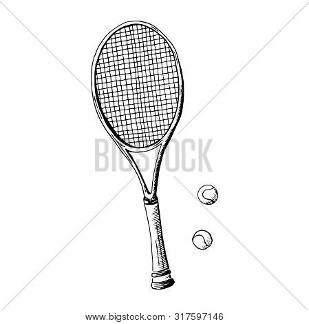 Tennis Racquet. Hand Drawn Sketch Style Tennis Racquet With Tennis Balls. Vector Illustration. Isola