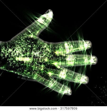 3d-illustration Of A Glowing Human Female Hand With A Green Kirlian Aura Showing Different Symbols