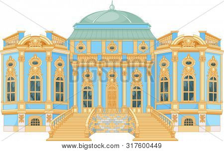 Illustration of blue rococo palace