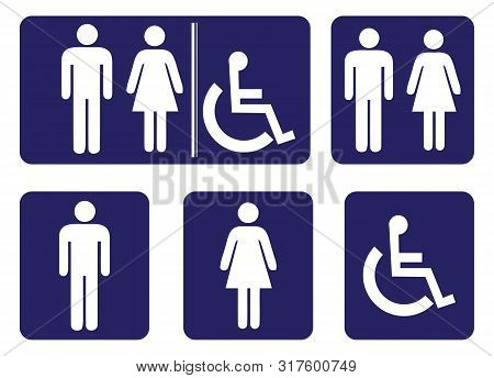 Wash Room Sign Collection.rest Room Sign Collection On Blue Background Drawing By Illustration.male