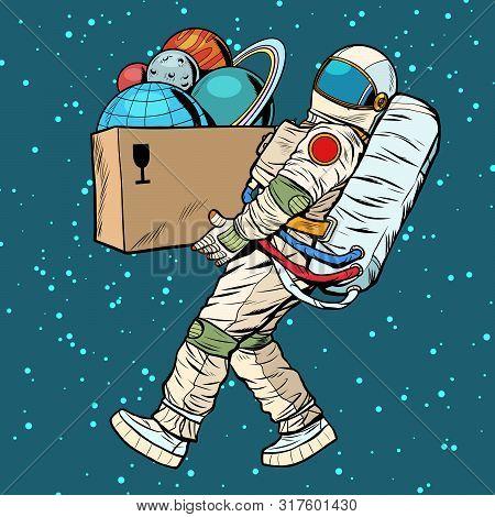Space Exploration Concept. Astronaut Takes The Planet In A Box. Pop Art Retro Vector Stock Illustrat
