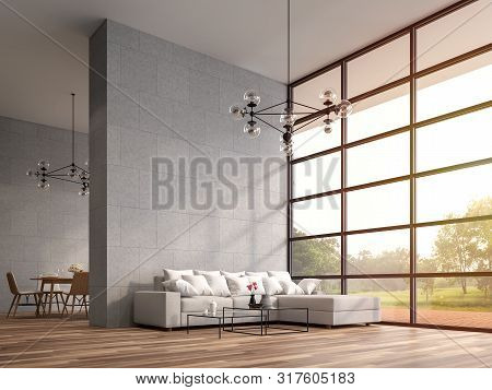 Modern High Ceiling Loft Living And Dining Room 3d Render.the Rooms Have Wooden Floors ,decorate Wit