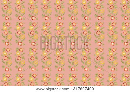 Vivid Fresh Vegetables Pattern On Colourful Background