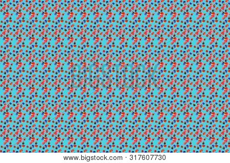 Vivid Fruit Pattern Of Fresh Berries On Colourful Background